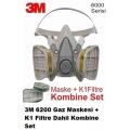 3M 6200 Gaz Maskesi + K1 Filtre Dahil Kombine Set
