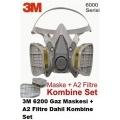3M 6200 Gaz Maskesi + A2 Filtre Dahil Kombine Set